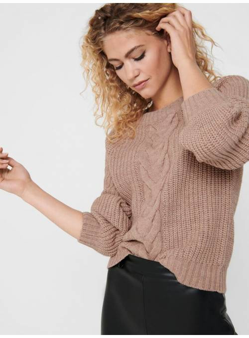 PULLOVER FEM KNIT PC85/WO15 - BROWN - W.