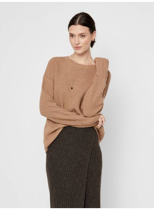 PULLOVER FEM KNIT PC64/CO22/PL14 - BROWN