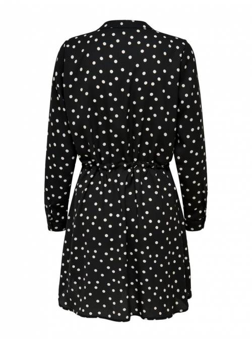 DRESS FEM WOV PL100 - BLACK - CD DOTS