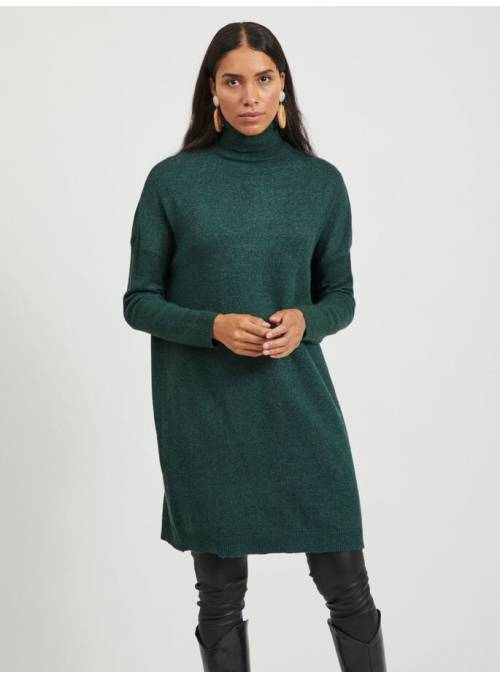 DRESS FEM KNIT VI50/NYL27/PL23 - GREEN -