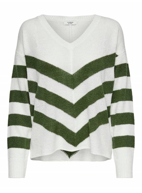 PULLOVER FEM KNIT PC100 - GREEN - STRIPE