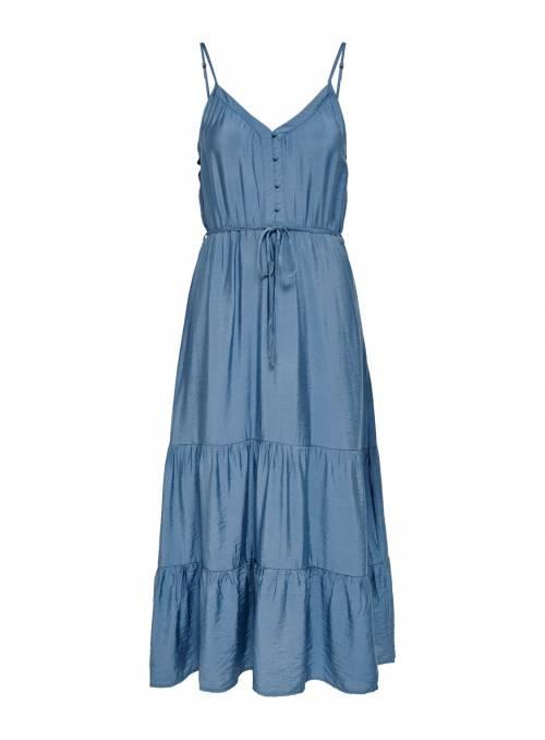 DRESS FEM WOV VI80/NYL20 - BLUE -