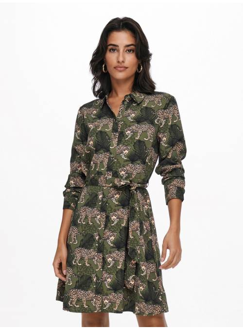 DRESS FEM WOV PL100 - GREEN - CHEETAH &
