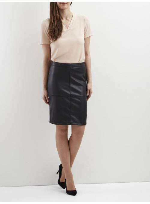 SKIRT FEM ECOPIEL - BLACK -