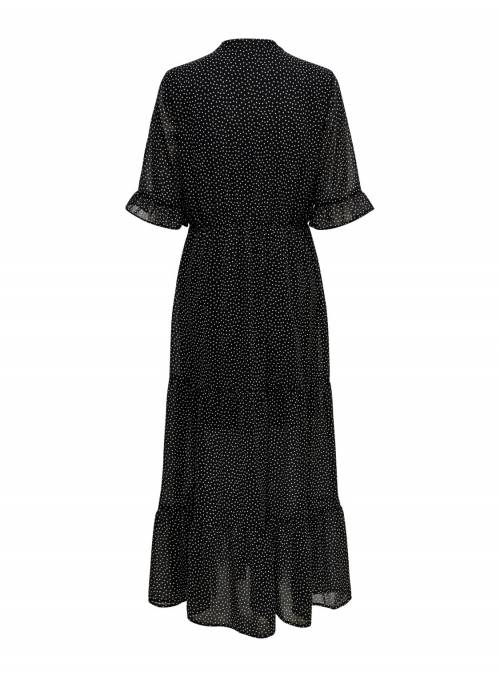 DRESS FEM WOV PL100 - BLACK - WHITE DOT