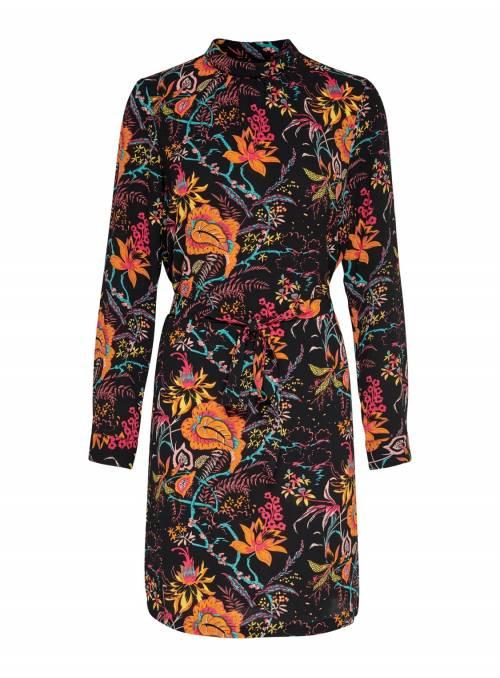 DRESS FEM WOV PL97/EA3 - BLACK - FLOWER