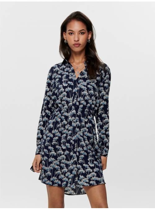 DRESS FEM WOV VI100 - BLUE - BLUE FLOWER