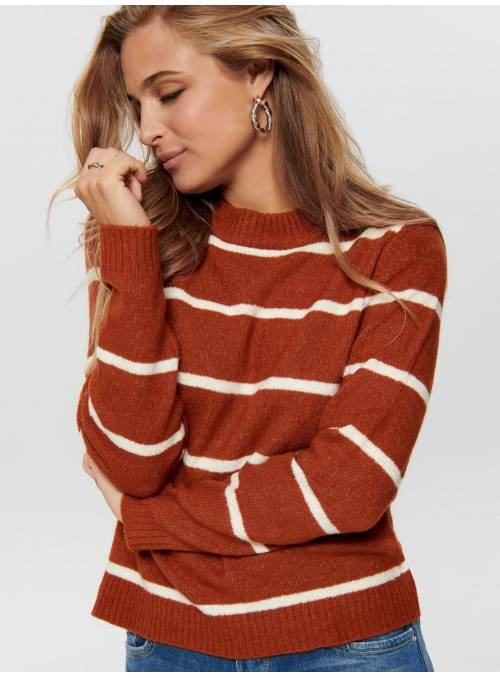 PULLOVER FEM KNIT PC76/NYL21/EA3 - BROWN