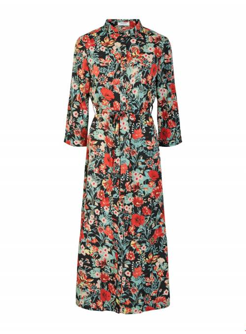 DRESS FEM WOV PL100 - BLACK - FLOWERS