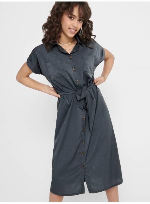 DRESS FEM WOV PL100 - BLUE -