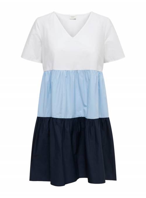 DRESS FEM WOV CO100 - WHITE - CHAMBRAY B