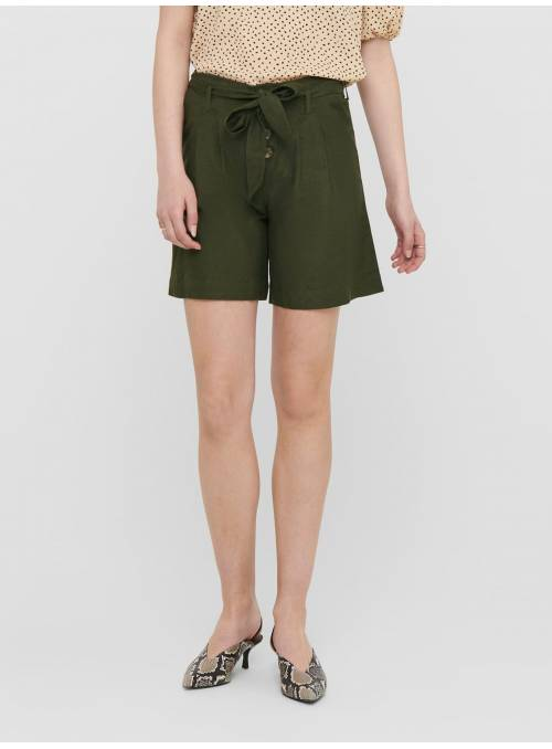 SHORTS FEM WOV VLE50/CO40/LIN10 - GREEN