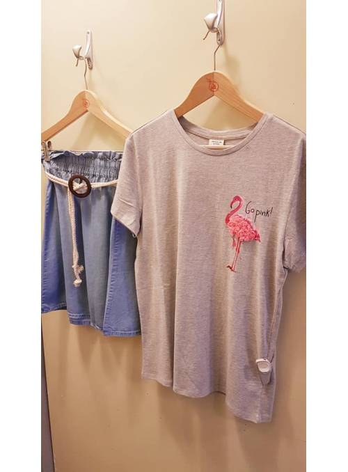 T-SHIRT FEM KNIT CO100 - GREY - FLAMINGO