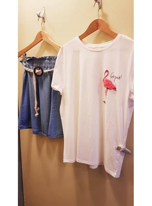 T-SHIRT FEM KNIT CO100 - WHITE - FLAMING