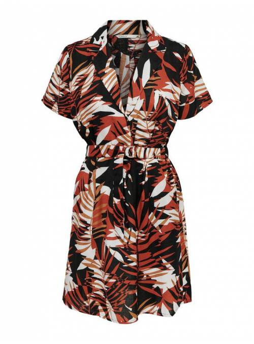 DRESS - RED - GRAPHIC PALM