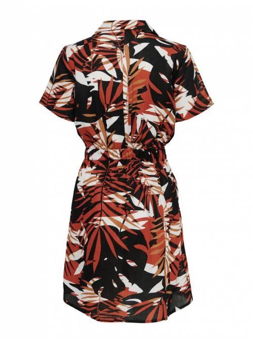 DRESS FEM WOV VI55/LIN45 - RED - GRAPHIC