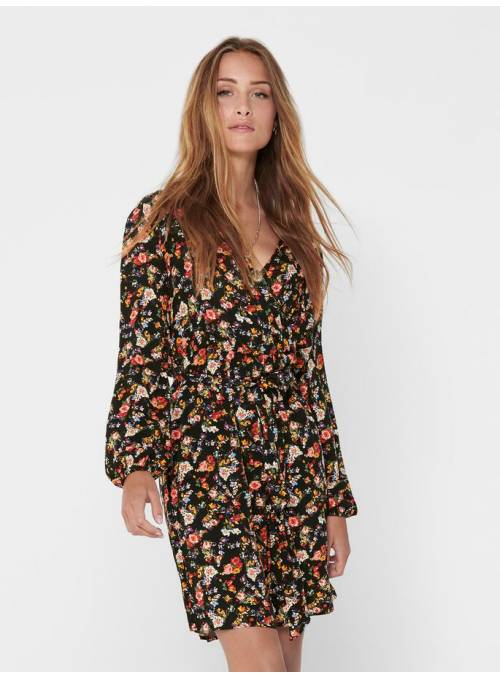 DRESS FEM WOV VI100 - BLACK - FLOWER