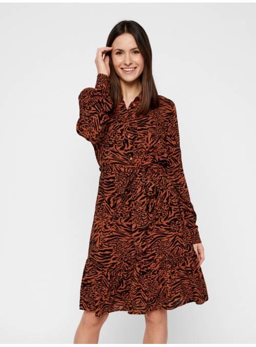 DRESS - BROWN - ANIMAL MINIMAL