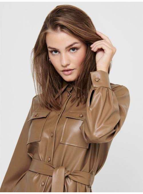 DRESS FEM WOV PPU100 - BROWN -